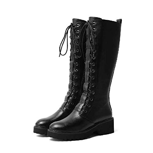 QPDUBB Ankle boots Pot Cow Leather Modern Long Boots Round Toe Rock Design Thick Heels Cross-Tied Keep Warm Thigh High Boots