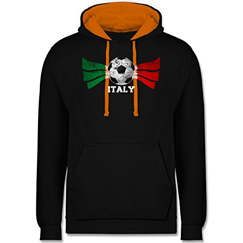 Fußball - Italy Fußball Vintage - Kontrast Hoodie Schwarz/Orange