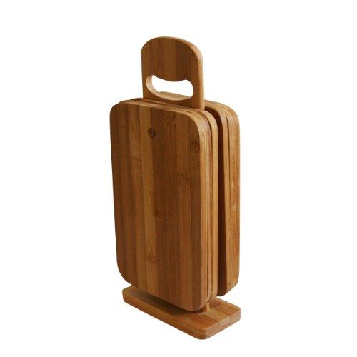 axentia Schneidebrett-Set 7 teilig - 6 Brettchen aus Bambus-Holz - Brettchenständer mit...