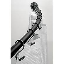 mDesign - Barral curvo para cortina de cubículo de ducha, de pared - 104-183cm - Negro mate