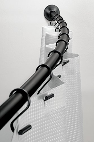 mDesign Asta Tenda Doccia Curva A Parete per Doccia - 104-183cm, Nero Opaco