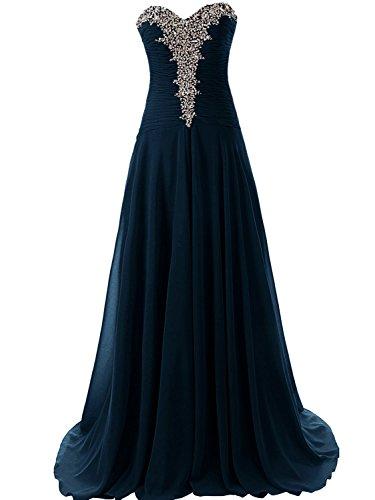 Ballkleider Abendkleider Lang Damen Festkleider A Linie Chiffon Hochzeitskleider Marineblau EUR54