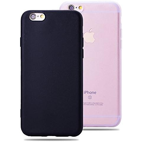 SMARTLEGEND 2x Morbido TPU Cover per iPhone 6 Plus iPhone 6S Plus, Ultra Sottile Durevole Gel Silicone Custodia con Modello di Seta, Candy Color Protettiva Back Case Copertura - Colore Nero + Trasparente
