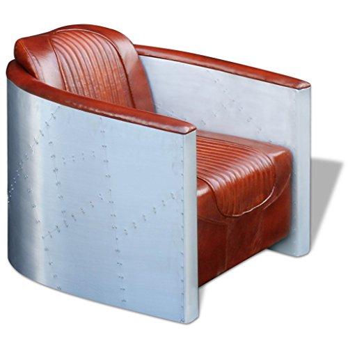 vidaXL Echtleder Clubsessel Relaxsessel Ledersessel Loft Sofa Vintage Hellbraun