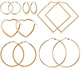 Milacolato 6Pairs Orecchini a Cerchio con Motivo Geometrico in Acciaio Inossidabile per le Donne. Set di Orecchini a Cuore Sottile a Forma di Cuore