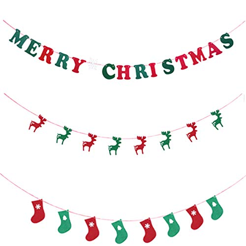 COSORO 3 Pack Frohe Weihnachten Banner-DIY Frohe Weihnachten Hirsch Strumpf Banner Flagge Hängenden Stoff Flagge Bunting Girlanden für Xmas Party Ornamente DIY Home Hotel Mall Yard Wanddekoration (Ornament Diy Christmas)