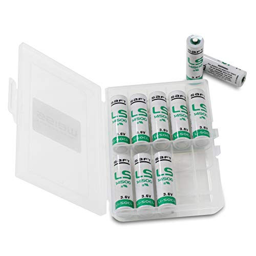 10x Saft LS14500 Batterie AA Industriezelle Lithium-Thionylchlorid, 3.6V Mignon in Batteriebox von Weiss - More Power + 6-volt-lithium-batterie