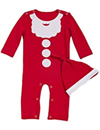 Recién nacido Mono 2 Piezas Bebé Navidad Pijama con Sombrero Mameluco de Algodón ...