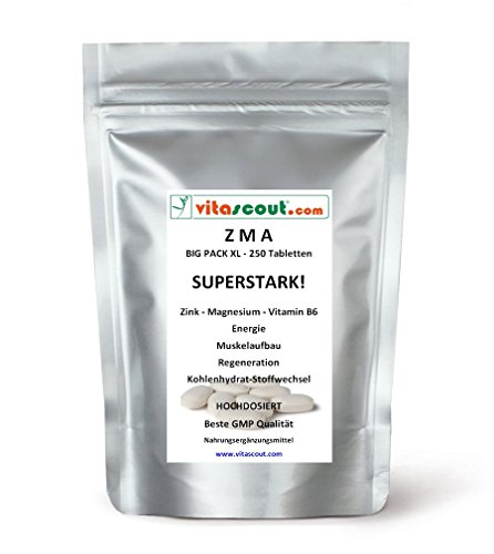 250 Tabletten ZMA - Zink Magnesium Vitamin B6 - Muskelaufbau Regeneration -