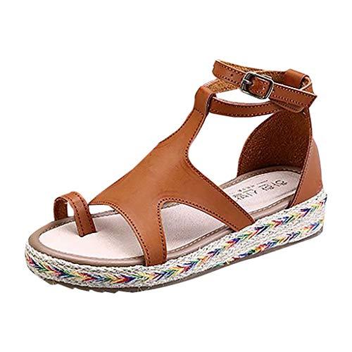 men Frauen Sommer Sandalen Keilabsatz Sandalen mit Knöchelriemen Römische Blockabsatz Schuhe Fischmaul Peep Toe Wedge SandalPlattform Keilsandalen Dicke ()