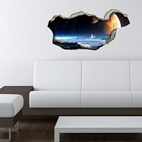 Preisvergleich Produktbild Dalinda® 3D Wandsticker 3D-Optik Neuer Planet Wanddeko 3D Wandtattoo 3D Wandbilder Wandgestaltung DS214 (60x29cm)
