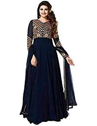 Clickedia Women's Embroidered Faux Georgette Anarkali Suit