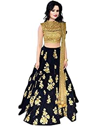 5d243bc568 Radhika Creation Women's Velvet Semi-Stitched Satin Lehenga Choli (Blue,  Free Size)