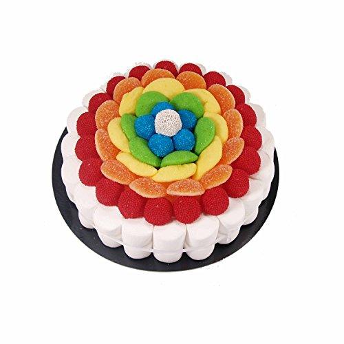 Tarta confeccionada con 450 g de golosinas Rainbow. Peso neto: 450 g Contiene 71 uds. Golosinas Medidas: diámetro 22 cm. Presentación con caja elegante y retractilado.