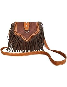 Damen Vintage Umhängetasche Leder Schultertasche mit Fransen Fashion Shopper Tasche für Handy und Geldbeutel