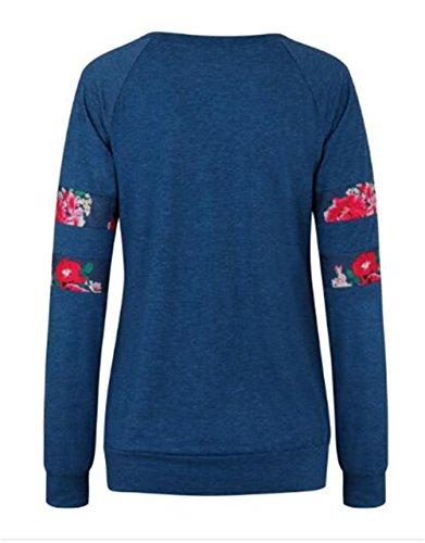 BESTHOO Maglietta Donna Manica Lunga Maglie Girocollo Camicia Allentato Camicetta T-Shirt Ricamato Top Casuale Partito Per Le Donne Blue