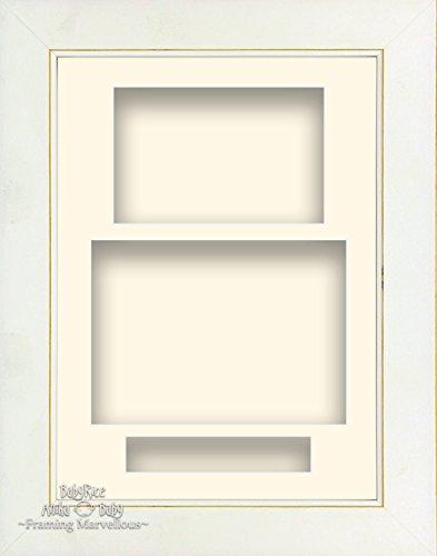Framing Marvellous 8,5x 11,5cm, Weiß mit Portrait Deep Shadow Box-Bilderrahmen, 3-Bild mit farbigen Collage Handarbeit cremefarben Rustikale Holz-shadow Box