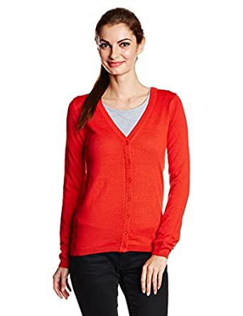 Allen Solly Women's Body Blouse T-Shirt (AWFT515C00210_Red Solid_L)