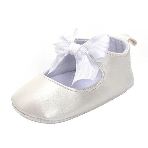 en Rutschfest Weiche Leder Bowknot Taufschuhe Kleinkind Sneaker Weiß 6-12 Monate (Kleinkind Weiße Ballett Schuhe)