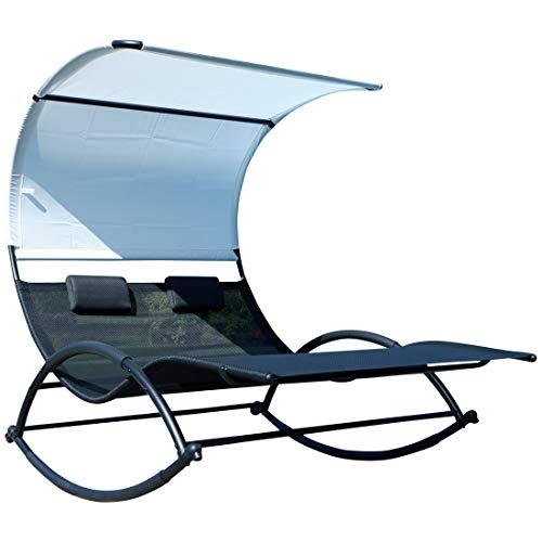 #ASS Doppel Schaukelliege Sonnenliege aus atmungsaktivem Kunststoffgewebe mit Kopfpolster und Dach ergonomisch geschwungen, Ausstattung:Metall Mod. IOS#