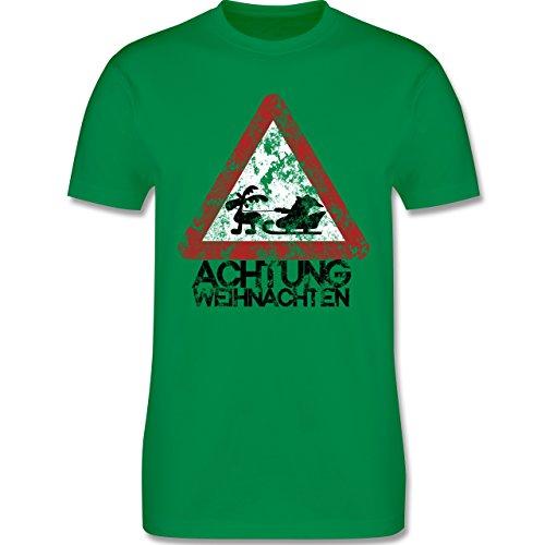 Weihnachten - Achtung Weihnachten - Vintage - L190 Herren Premium Rundhals T-Shirt Grün