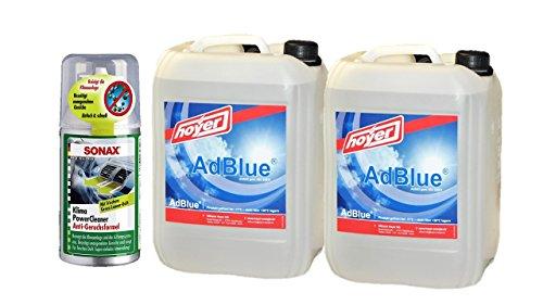 AdBlue 2 x 10 Liter Kanister von Hoyer mit Ausgießer für Audi, VW, MB- + Air Power Cleaner GREEN LEMON