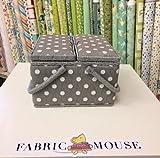 Colección de valor: caja de costura hobbygift (L): doble tapa: cuadrado: gris lino lunares, mezcla de algodón, varios colores, 25x 25x 17cm