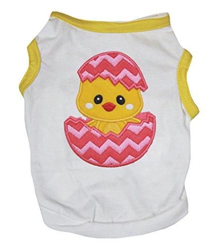 eidung Hund Kleid Chick Ei Gelb Weiß Baumwolle T-Shirt, XX-Large, Gelb ()