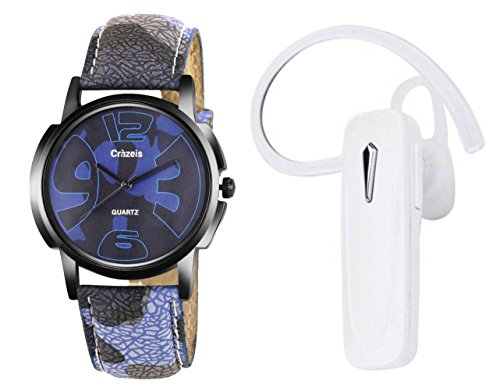 Crazeis Combo Of Watch & White Bluetooth Headset With Mic Compatible With All Smart Phone (Relsih Md-1-Bl-Wh)