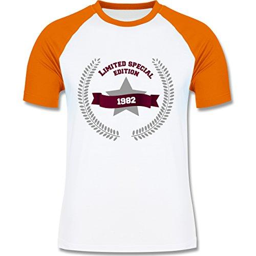 Shirtracer Geburtstag - 1982 Limited Special Edition - Herren Baseball Shirt Weiß/Orange