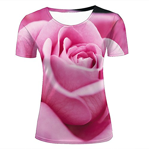 ouzhouxijia Mens 3D Printed T-Shirts Charming Rose Graphics Couple Tees D