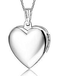 Corazón bañado en plata titanio camafeo