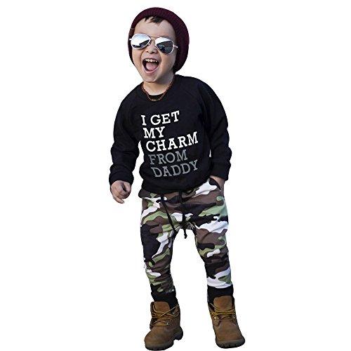 Zylione Jungenkleidung Anzug Baby Langarm Brief Oben + Tarnung Hosen Kinderanzug Kinder Tagesgeschenk