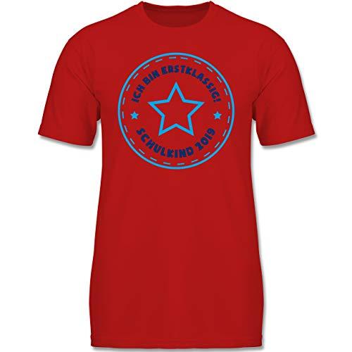 Einschulung und Schulanfang - Schulkind 2019 Ich Bin erstklassig Stern blau - 128 (7-8 Jahre) - Rot - F130K - Jungen Kinder T-Shirt - Kinder Aufmerksamkeit Suchen