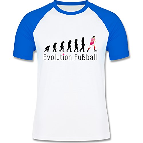 Evolution - Fußball Evolution - zweifarbiges Baseballshirt für Männer Weiß/Royalblau