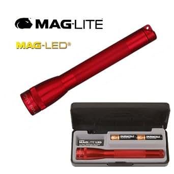 Maglite - Lampe Torche de Poche Mini Maglite LED - Rouge - 16.8 cm + Coffret + Piles LR6/AA - 4 Modes Eclairage