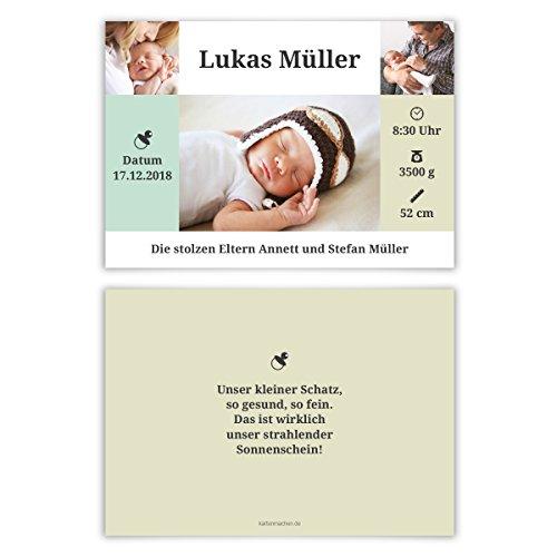 50 x Geburtskarten Babykarten Geburt Baby individuell Mädchen Junge - Mini-Übersicht (Danke-karten Band)