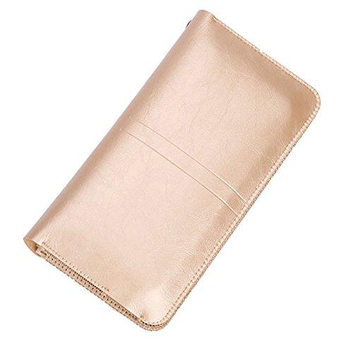 iPhone Samsung universal Smartphone PU Leder Handyschale elegant Wallet Ledertasche Schutzhülle kann als Damen und Herren Geldbörse Geldtasche perfekt für Smartphone bis zu 5,5 Zoll z.B. iphone 7/7 Plus, iphone 6/6s Plus Samsung Galaxy S6 usw. (Golden)