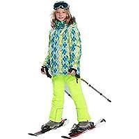 LPATTERN Traje de Esquí Estampado para Niños 2 Pieza Conjunto Ropa Deportiva Invierno, Verde+Amarillo, Talla:116-122/5-6 años