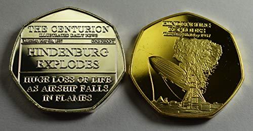The Commemorative Coin Company Hindenburg Luftschiff 1937 Silber & 24 Karat Gold Gedenkmünzen 20th Centurion Serie Alben 50p Münzen Jagd Sammler - Gold Serie 20
