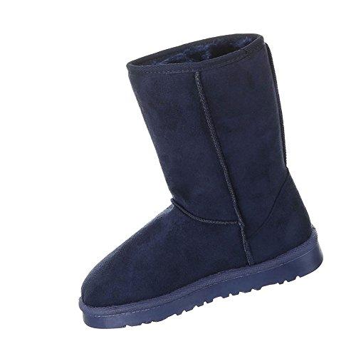 Damen Schuhe Boots Warm Gefütterte Stiefelettten Blau