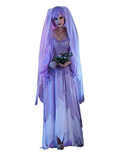 Halloween Kostüm Damen Halloweenkostüm Halloween-Party Cosplay Hölle Skelett Geist Braut Horror Geistkostüm Als Bild S