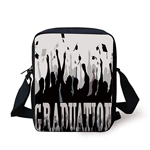 demy Celebration Party Student Silhouettes Happy Grads Caps Off Decorative,Black Silver White Print Kids Crossbody Messenger Bag Purse ()