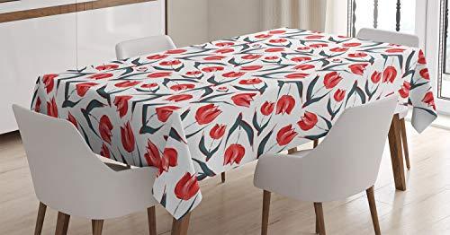 Abakuhaus rosso tovaglia, tulipani İspirati vintage, per l'uso esterno lavabile resistente al lavaggio antisporco, 140 x 240 cm, rosso verde