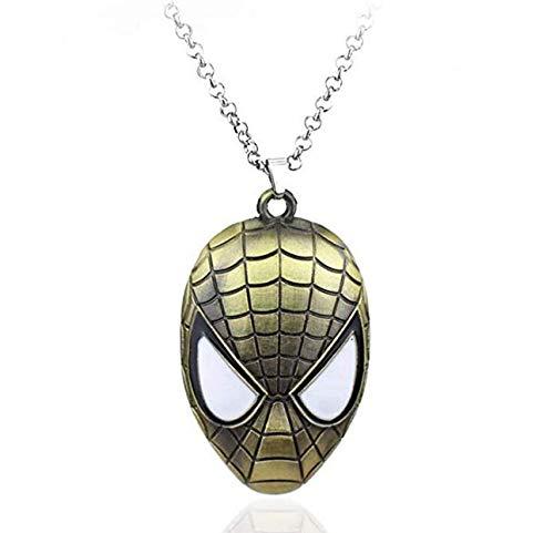 Supereroi Spiderman-Halskette für Herren mit Spinnen, Superhelden Medaillon, Hero Film Verkleidung, Halloween, Karneval, Jungen, Cosplay, bronzefarben