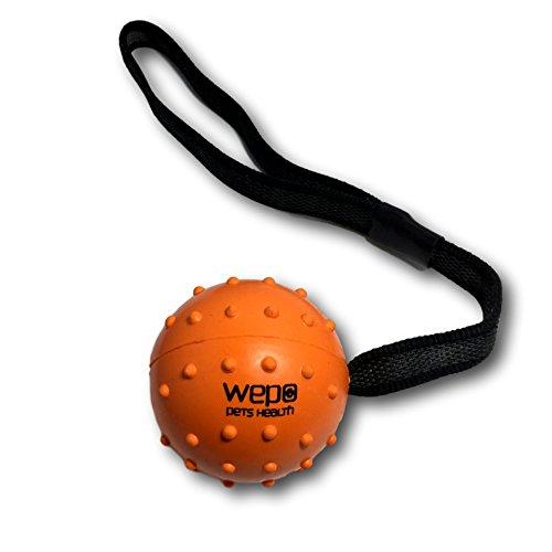 WEPO Hundespielzeug - Schleuderball mit Seil aus Naturkautschuk -für Welpen -Wurfballfür Hunde- - Hundespielzeug Wepo