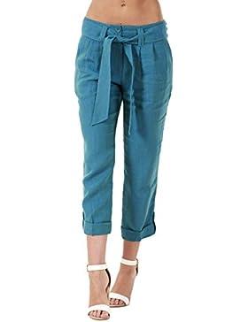Pantaloni capri da donna - con tasche - in lino - pantaloni a 3/4