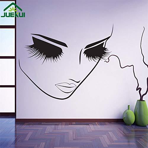 ljradj Lange Wimpern Mädchen Gesicht Wandaufkleber Make-up Schönheitssalons Friseur Wandtattoo Vinyl Wandbilder Ankleidezimmer Wandkunst rot 42x50 cm