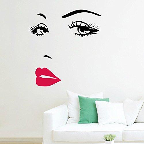 Wandtattoo Wandsticker dekorativ Moderne Frau Gesicht Schwarz Rot Weiß (82)