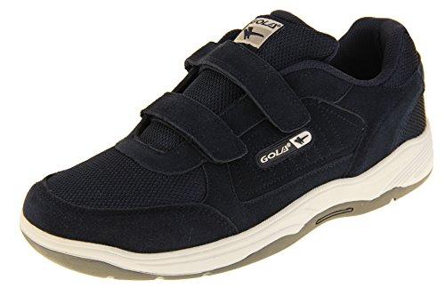 Gola Herren Ama202 Belmont Echtes Wildleder Klettverschluss Weit Sitzende EE Schuhe Turnschuhe Marineblau EU 45 (Schuhe Leder Für Arbeit Männer)